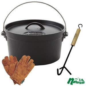 ロゴス(LOGOS) ダッチオーブン10インチ+ウッドグリップリフター+BBQ耐熱レザーグローブ【お得な3点セット】