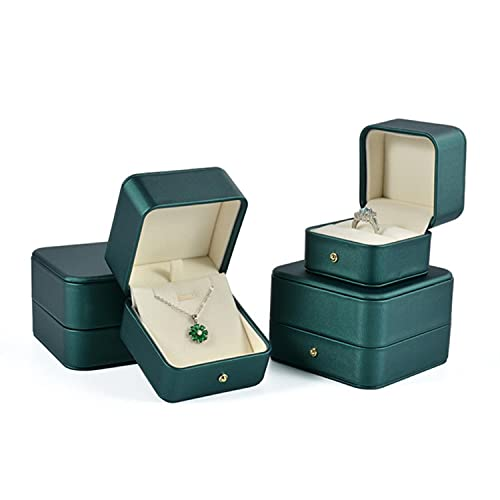2pcs Exquisite PU Leather Jewelry Display Pendant Necklace Packaging Case Wedding Engagement Ring Box Storage