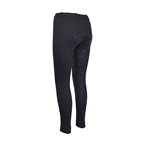 Avon Equine Reithose für Damen, Silikon, Vollbesatz | Premium-Qualität Baumwolle/Lycra-Stoff | Marineblau oder Schwarz | Hufeisen-Muster klebriger Silikongriff 44 Schwarz