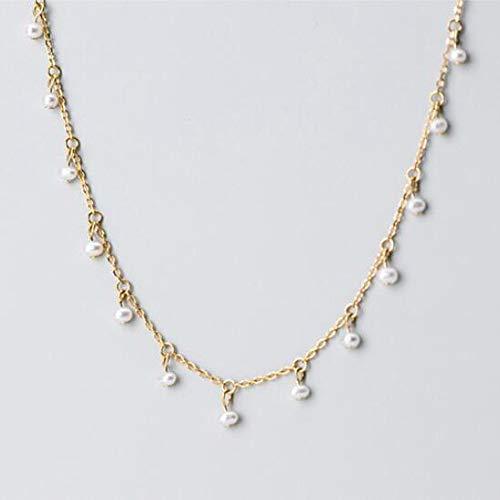 MTTN Trustdavis Genuine 925 Sterling Silver Minimalist Elegant Pearl Short Clavicle Necklace for Women Wedding Jewelry Gift DA1221 (Gem Color: Gold)