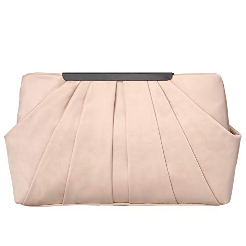 expouch Womens Pleated Satin Evening Handbag Clutch with Detachable Chain Strap Wedding Cocktail Party Bag (Beige)