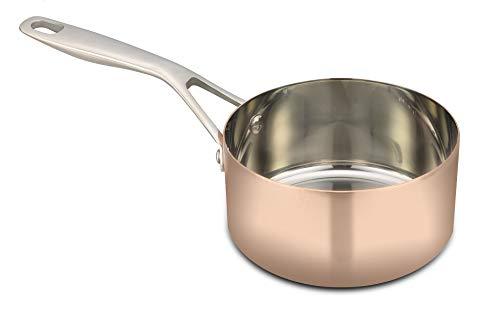 Baumalu B'Chef Kasserolle aus Kupfer | dickwandig mit Edelstahl Beschichtung | ideal für Ihren Induktionsherd | Induktion (16 cm | 1,6 Liter)