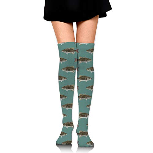 Women Girls Soft Thigh High Fishing Fish Bass Smallmouth Lake Blue Great Lakes Socks Over the Knee Boot Socks Long Tube Stockings Leg Warmer Socks