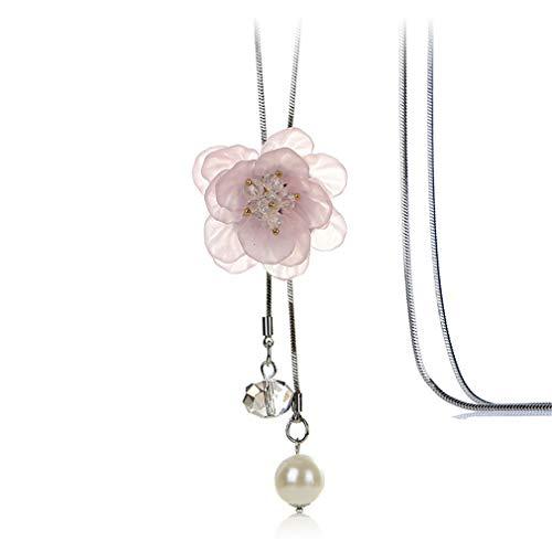 YAZILIND Simple Moda Tela Flor Colgante Collar Elegante señoras Largo flequilla Cadena Collar joyería #2