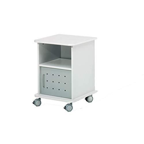 Escritorio portátil para impresora DR-BOficina - Dimensiones: 47 x 48,5 x 67,5 cm - Puerta de metal - Ruedas bloqueables - Soporta hasta 100 kg