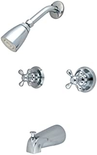Kingston Brass KB241AX Twin Handle Tub and Shower Faucet with Decor Cross Handle, Polished Chrome