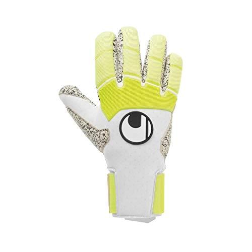 uhlsport Herren Pure Alliance Supergrip+ Finger Handschuhe Torwarthandschuhe, weiß/Fluo gelb/Schwarz, 8