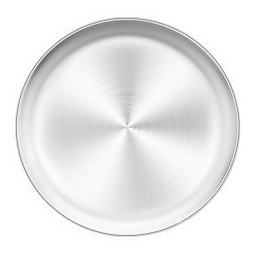 TeamFar Pizza Pan, 12 inch Pizza Pan Stainless Steel Pizza Pan Tray Round Pizza Oven Baking Pan, Healthy & Heavy Duty, Dishwasher Safe & Easy Clean