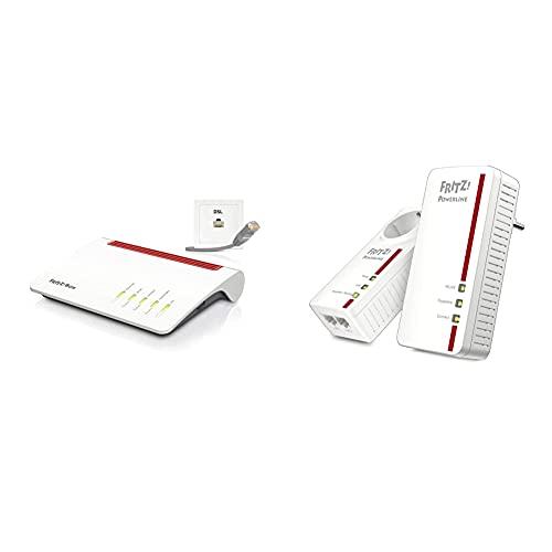 AVM FRITZ!Box 7590 WLAN AC+N Router (DSL/VDSL,1.733 MBit/s (5GHz) & 800 MBit/s, bis zu 300 MBit/s mit VDSL-Supervectoring 35b) & Powerline 1260E/1220E WLAN Set (WLAN-Access Point) weiß