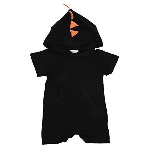 Baby Outfits Set, Baby Romper Hooded Baby Jongen Jumpsuit Korte Mouw Coverall Hoodie Dinosaur Patroon Katoen Zomer Jumpsuit Kleding 12 Months Zwart 100