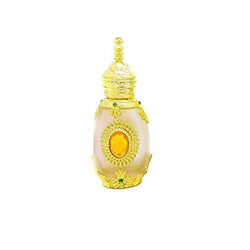 1 PCS 15ML 0.5OZ vide rechargeable doré bouteille de compte-gouttes en verre Upsacle avec pipette et pierres précieuses jaunes pots de tatouage brodés fiole de parfum portable