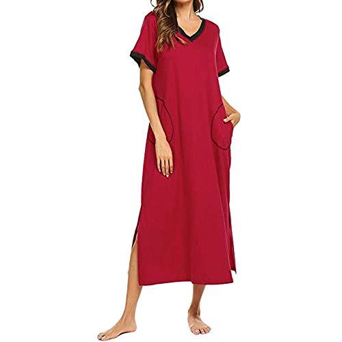 HUANSUN Vestido de Noche para Mujer Pantorrilla con Extremos divididos Camisa de Dormir Bolsillo de Manga Corta Camisón Longitud Vestido de Noche Suelto Verano, Vino, XXL