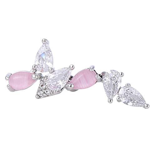 SJHFG Pendientes de cristal brillante con forma de flor exquisita, accesorios de joyería de cumpleaños para mujeres, plata 4