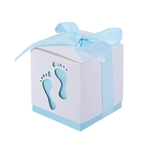 JZK 50 x Huella Azul Cajas Papel Baby Shower Cajas de Favor para niño Baby Shower niño cumpleaños Fiesta Bautizo Bautismo recién Nacido