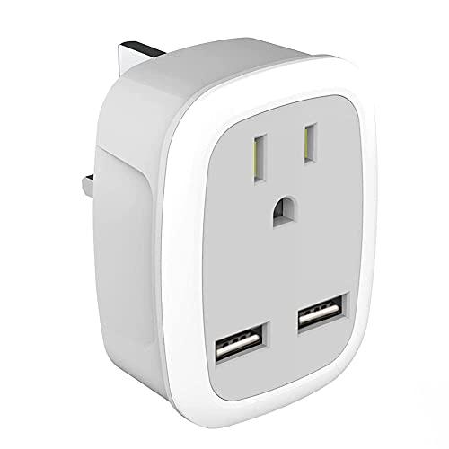 Adaptador de enchufe US-UK 100-250V Adaptador de enchufe con doble puerto USB Indicador LED