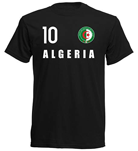 Nation Camiseta de Argelia con escudo del FH 10 SC Negro S