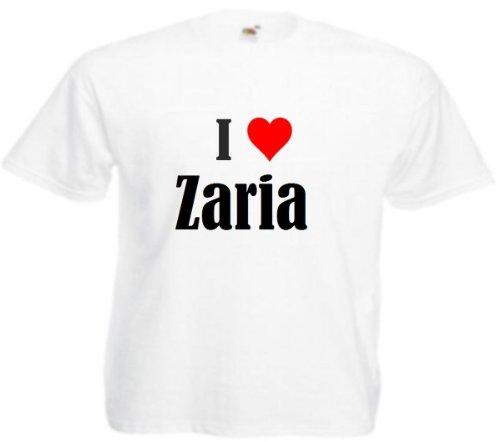 Camiseta I Love Zaria para mujer, hombre y niños en los colores negro, blanco y rosa. Blanco XXL