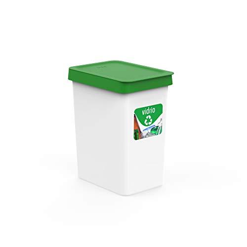 USE FAMILY papelera Recycle, Papelera reciclaje Vidrio, Cristal 12 Litros- 27x20x33 cm + Pegatinas Reciclaje | Para Bolsas 10 L | Cubos de basura ecologico Plástico Reciclable