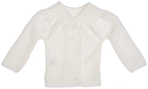 MLT Brassière de Naissance bébé 3 Boutons (Blanc), tricotée en France