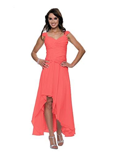 Astrapahl Damen Cocktail Kleid mit schönen Raffungen, Knielang, Einfarbig, Gr. 42, Rosa (Watermelon)