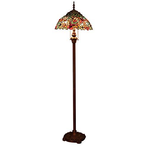 Tiffany de pie Lámpara de pie, Sombra Rosa Rojo Verde Lotus Stained Glass Floor Aplique de la lámpara, Habitación Sala de Lectura lámpara con Interruptor de cordón de Tiro
