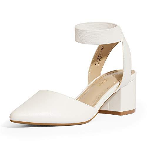 DREAM PAIRS Women's White Pu Low Block Chunky Heel Ankle Strap Dress Pumps Shoes Size 6.5 M US NICHOLES