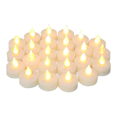"iZAN Flameless Battery Operated LED Tealight Candles Flickering Electric Decorative Tea Lights for Xmas Home Party Wedding Decorations Christmas Décor 1.5""x1.5"" Batteries Included 24-Pack"