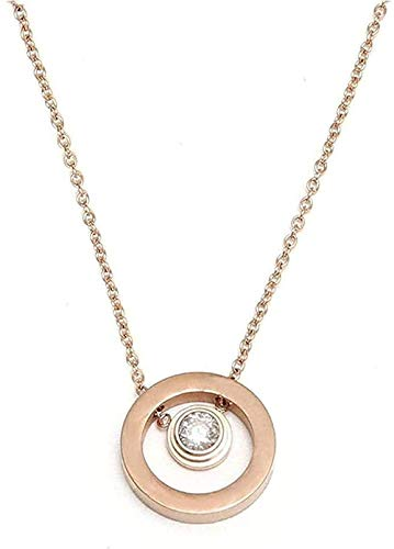 NC110 Collar Collar Moda Latido del corazón Collar de clavícula de Acero de Titanio Anillo de Diamantes Colgante Collar de Acero de Titanio Tendencia Accesorios para Mujeres Hombres Regalo