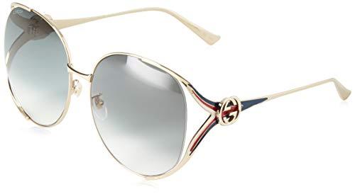 Gucci Damen GG0225S 004 Sonnenbrille, Gold (4/Grey), 63