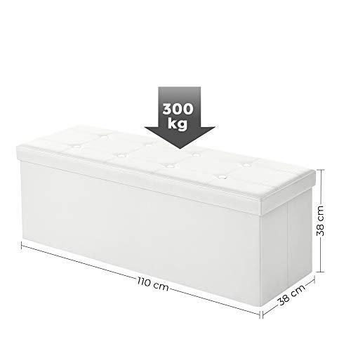 Songmics Sitztruhe 3-Sitzer Kunstleder, weiß, 110x38x38cm - 5