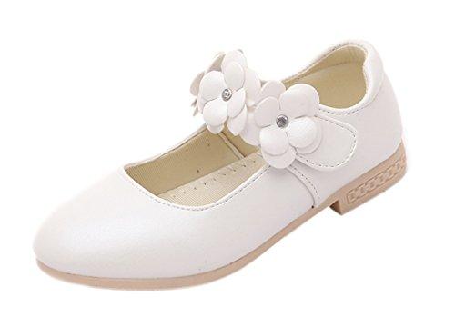EOZY Kinderschuhe Mädchen Ballerinas Festliche Schuhe Lackschuhe mit Blumen Weiß EU29