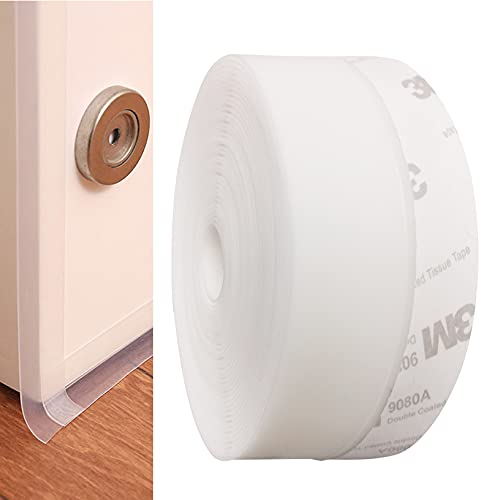 CUKCIC Dichtungsstreifen Selbstklebend Silikon Dichtungsband Zugluftstopper Schalldicht für fenster Frameless-tür 45mm×6m Weiß