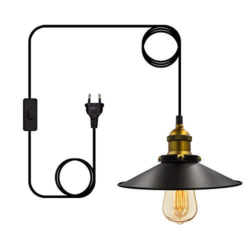 Lámpara de Suspensión Vintage E27 Industrial Metal Pantallas de Iluminación con Cable de 4.5M, Lámpara con Interruptor y Enchufe, para Sala de Estar, Garaje (Bombilla No Incluida)