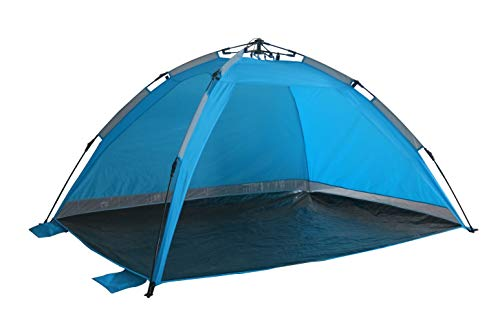 Strandmuschel Hellblau Strandzelt mit Schirmsystem Polyester blitzschneller Aufbau Wetter- und Sichtschutz Duhome 5070