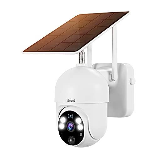 Telecamera Wifi Esterno con Batteria e Pannello Solare, JideTech PTZ Wifi Telecamera di Sicurezza con Pan 355° e Tilt 95°Radar PIR Doppia Modalità di Rilevazione Auto Tracking e Audio Bidirezionale