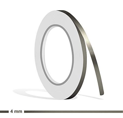 Siviwonder Zierstreifen Graphit grau metallic Glanz in 4 mm Breite und 10 m Länge Folie Aufkleber für Auto Boot Jetski Modellbau Klebeband Dekorstreifen dunkelgrau Silber