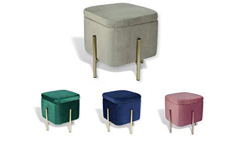 Avior Home Sitzhocker Schminkhocker aus Samt Sitzwürfel Aufbewahrungsfußhocker mit Metallbeine Quadrat (Grau)