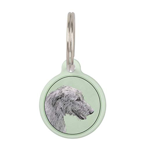 SLobyy Stainless Steel Pet ID Tags, Dog Tags, Cat Tags, Irish Wolfhound Painting - Cute Original Dog Art Pet ID Tag for Dogs and Cats