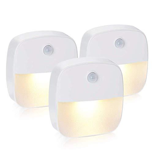solawill Nachtlicht mit Bewegungsmelderla 3 Stück LED Bewegungsmelder Licht Auto ON/OFF Nachtlicht Schrankbeleuchtung mit Haftend für Schlafzimmer, Kinderzimmer, Treppe, Flur -Warmweiß