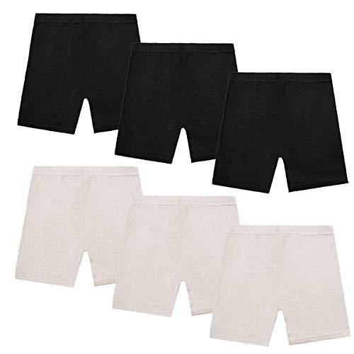 Dance Shorts Under Dress -6 Pack Girls Bike Short for Sports Black Under Skirt Shorts for Girls, Multi, 4T / 5T