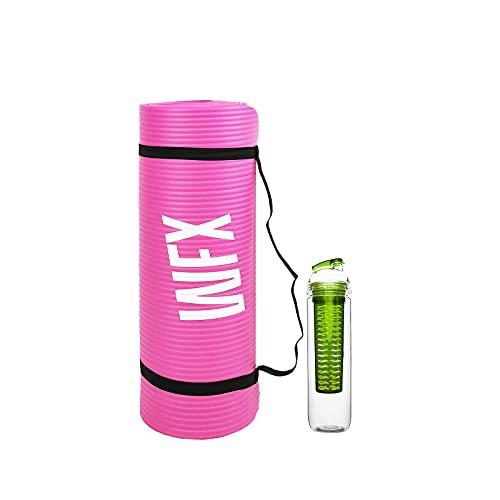#DoYourFitness x World Fitness - Fitnessmatte Yogamatte »Jivan« - inkl. Trinflasche & Tragegurt - 186 x 61 x 2cm - gepolstert & rutschfest - Dicke Gymnastikmatte für Yoga Pilates - pink