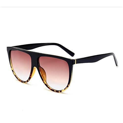 Gafas De Sol Nuevas Gafas De Sol De Moda para Mujer, Vintage Retro, Parte Superior Plana, Gafas De Sol De Gran Tamaño, Piloto Cuadrado, Diseñador De Lujo, Grandes Sombras Negras Blackleopard