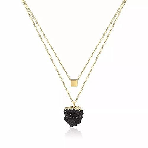 OYHBV Collar Collar Druzy De Color De Acero Inoxidable Minimalista Collar De Piedra De Cuarzo Niña