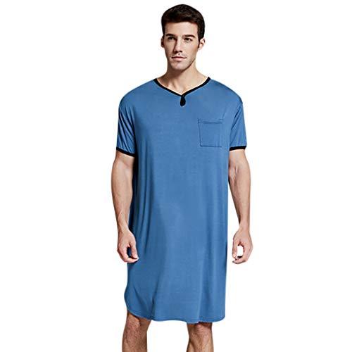 T-Shirt Männer Dünn Sommer verlängert Einfarbig Komfortable Home Service ( L,Blau )