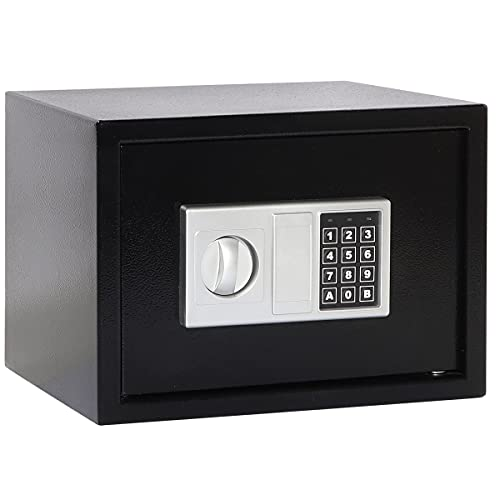 Parrency Security Money Safe Box,0.5CF Security Digital Safe for Home Office,Electronic Steel Safe with Keypad,13.8x9.8x9.8 inches, Black
