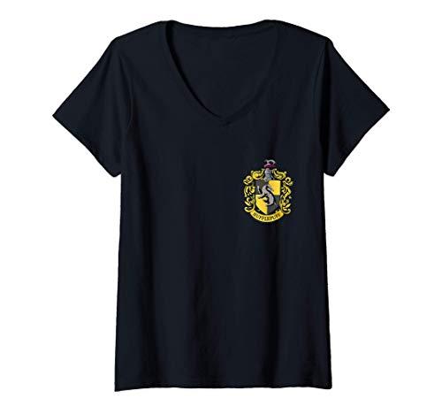 Damen Harry Potter Hufflepuff Pocket Print T-Shirt mit V-Ausschnitt