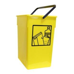 Cubo basura Reciclar 20X28X34 C/Asa amarillo 15l