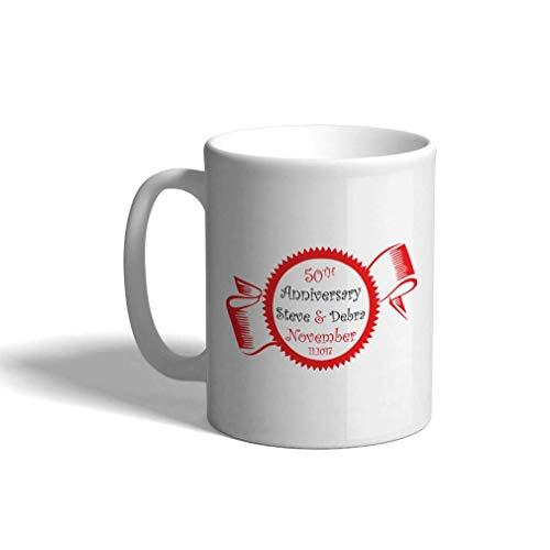 Taza de café personalizada 11 onzas 50 aniversario cinta roja sello boda aniversario parejas taza de té