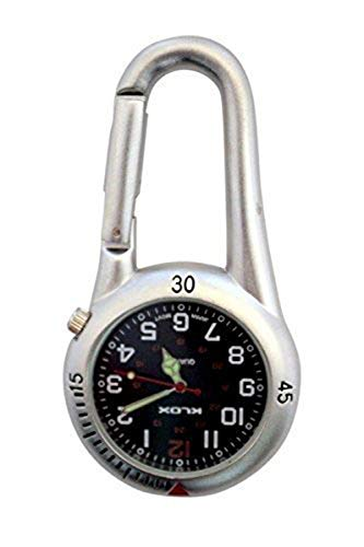 Unisex-Uhr Schwarzes Zifferblatt Analoges Quarzwerk mit Weiß-Silber-Clip am Karabiner