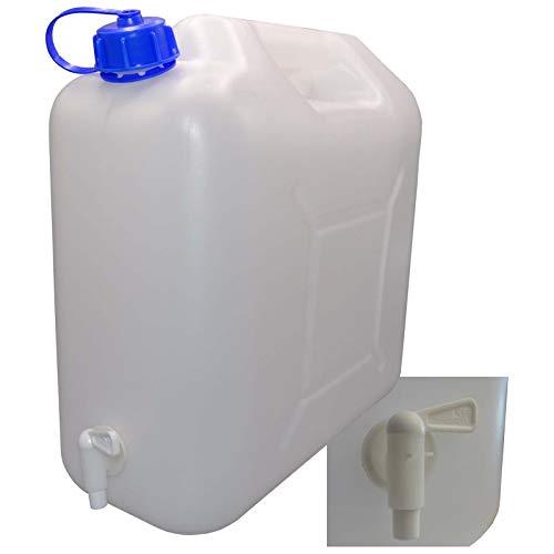 Tanica da 30 litri con coperchio, rubinetto e beccuccio, acqua potabile naturale 20 Liter Inhalt 1 tanica.
